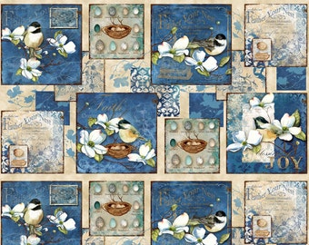 Bird Fabric - Feather Your Nest by Nancy Mink for Wilmington Prints Fabric - 33778 241 Blue - Priced by the 24-Inch Panel