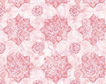 Wild Blush Fabric - Medallion - Danhui Nai - Wilmington Fabrics - 89221 313 Pink - Priced by the half yard