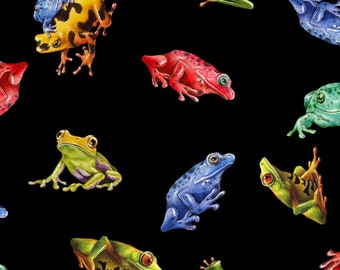 Frogs - Jewels of the Jungle - Small Tossed Frogs - Lori Anzalone for StudioE Fabrics 5562 99 Black -  Priced by the 1/2 yard