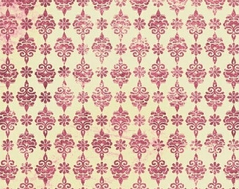 Pink Medallion Fabric - Urban Cosmos Medallions Prima for Windham Fabrics 33329 3 Pink & Cream - Priced by the 1/2 yard