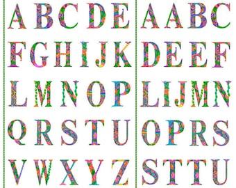 QT Fabrics Alpha Doodle Fabric - Debi Payne Alphabet Panel - 27692 Z - Priced by the 36-Inch Panel