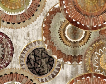 Global Luxe Collection - 3Wishes Fabric by Pi Creative Art - African Basket Weave Medallion - 18010 - Priced by the half yard