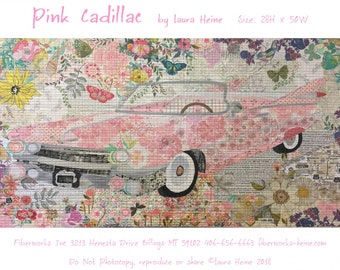 """Pink Cadillac Collage - Car Applique - Laura Heine - Cadillac Quilt 28""""x50""""  - DIY Pattern Or Kit Option - full size template pattern"""