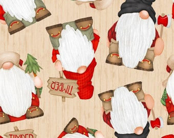 Timber Gnomies Tossed Woodgrain - Shelly Comiskey for Henry Glass 9274 48 - Priced by the Half Yard