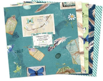 Botanical Butterfly, Bird walk - Nature Study by Nancy Mink for Wilmington Prints Fabric - 10-Inch Squares, 42 Per Pack 518-507-518