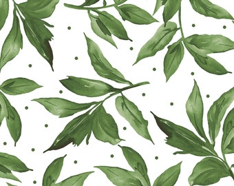 Prose Leaves - Leaf & Stem Spray-  Maywood Studio - MAS 9654 UW Green on Ultra White - Priced by the 1/2 yard