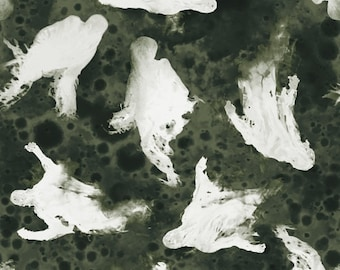 Fright Night fabric - Ghost Fabric, Drifting Spirits - Glow in the Dark - Blank Quilting 9715 G - Priced by the 1/2 yard