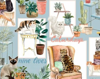 Everyday is Caturday - 3wishes Fabric - Cat Patch 18036 - Priced by the half yard