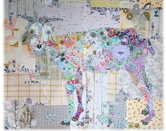 "Goat Collage - Laura Heine Design - Applique Quilt -Billie Goat Pattern 43""x45"" - DIY Pattern Or Kit Option - full size reusable template"