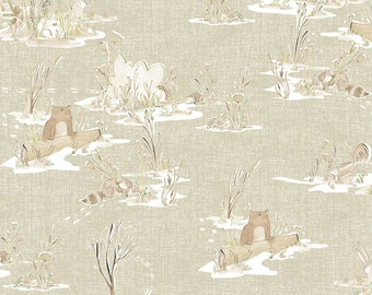 Blend Fabrics - Through the Forest Winter News by Cori Dantini - 112.117.03.1 Green - Priced by the 1/2 yard