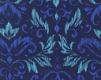 Blooming Damask Fabric - From On the Town by  Michael Miller Fabrics CX 6904 Blue - Priced by the Half Yard