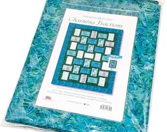 "Batik quilt - Charming Fractions Quilt Kit -  Bejeweled Batiks Maywood Studio KIT-MASCHF Teal Blue - Fabric & Pattern - DIY Project 52""x68"""