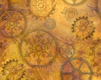 Aquatic Steampunkery - Gears - Desiree Designs for QT Fabrics - 27772 S Antique Gold - Priced by the half yard
