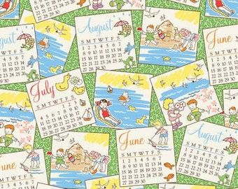 Retro Children's Fabric, Summer Vacation, Beach Days - Storybook Classics Fabric, Whistler Studios, Windham  41076 - Priced by the 1/2 yd