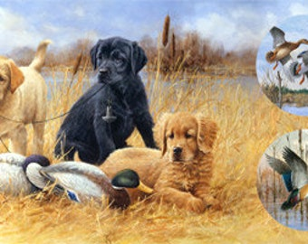 Northcott Faithful Friends - Hunting Dogs - Duck Hunting - Scenic Panel - DP 22734 30 - Priced by the 24-Inch Panel