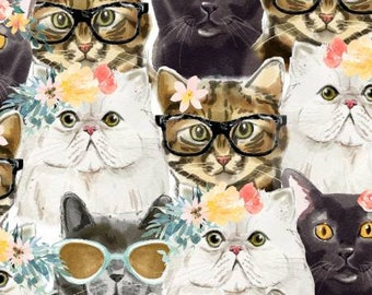 Everyday is Caturday - 3wishes Fabric - Packed Cats 18040 - Priced by the half yard