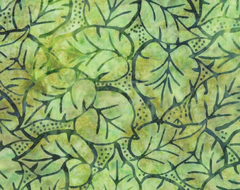 Green Batik Fabric - Catalina Batik for Moda Fabrics - Tropical 4329 41 - EOB 18-inch