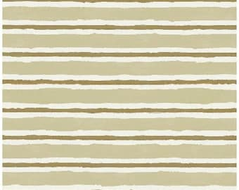 Stripe Fabric, Brown Stripe Sepia Fabric - Friendship by the Sea - Faye Whitaker for Elizabeth Studios 310 Sepia - Priced by the 1/2 yard