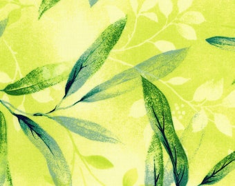 Rejuvenation Gentle Leaves - Leaf Blade Spray-  Maywood Studio - MAS 90302 S Yellow - Priced by the 1/2 yard