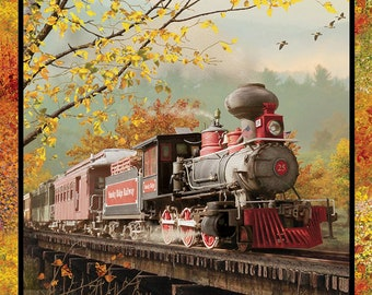 Train Fabric - Steam Engine - Autumn Steam by Michael Shelton from 3 Wishes Fabric 16584 - 34-Inch x 44-inch Panel