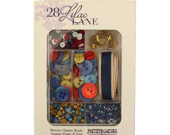Embellishment Kit, Buttons Galore, Ribbon & Buttons, Nautical - Adventure at Sea 28 Lilac Lane by May Flaum LL105