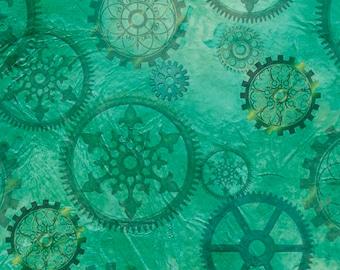 Aquatic Steampunkery - Gears - Desiree Designs for QT Fabrics - 27772 Q Aqua - Priced by the half yard