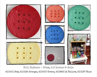 Large Plastic button - 2.3 inches, 60mm - Dill Button 410xxx, 9-hole - assorted colors