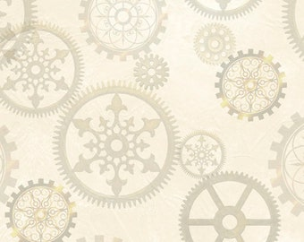 Aquatic Steampunkery - Gears - Desiree Designs for QT Fabrics - 27772 E Cream - Priced by the half yard