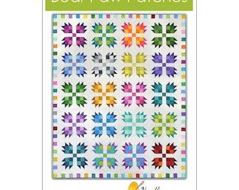 """Bear Paw Patches Quilt Pattern 1621 - Needle in a Hayes Stack by TIffany Hayes - DIY Pattern - finishes 70""""x86"""""""