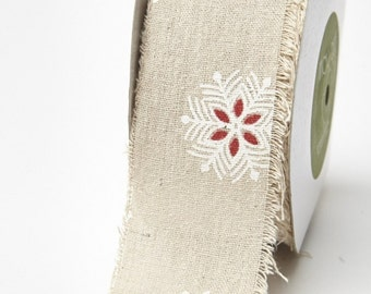Snowflake Winter Ribbon - 2.5 Inch Cotton Linen Blend - Priced by 36-Inch cut -