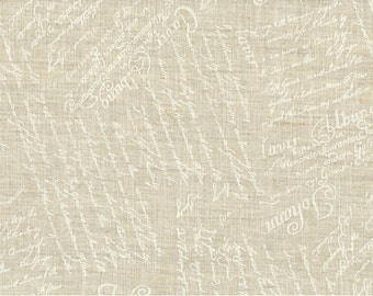 Linen Fabric - Painted White Writing 100% Linen by Stof A/S Fabrics ST15 210 V10 - 1/2 yard