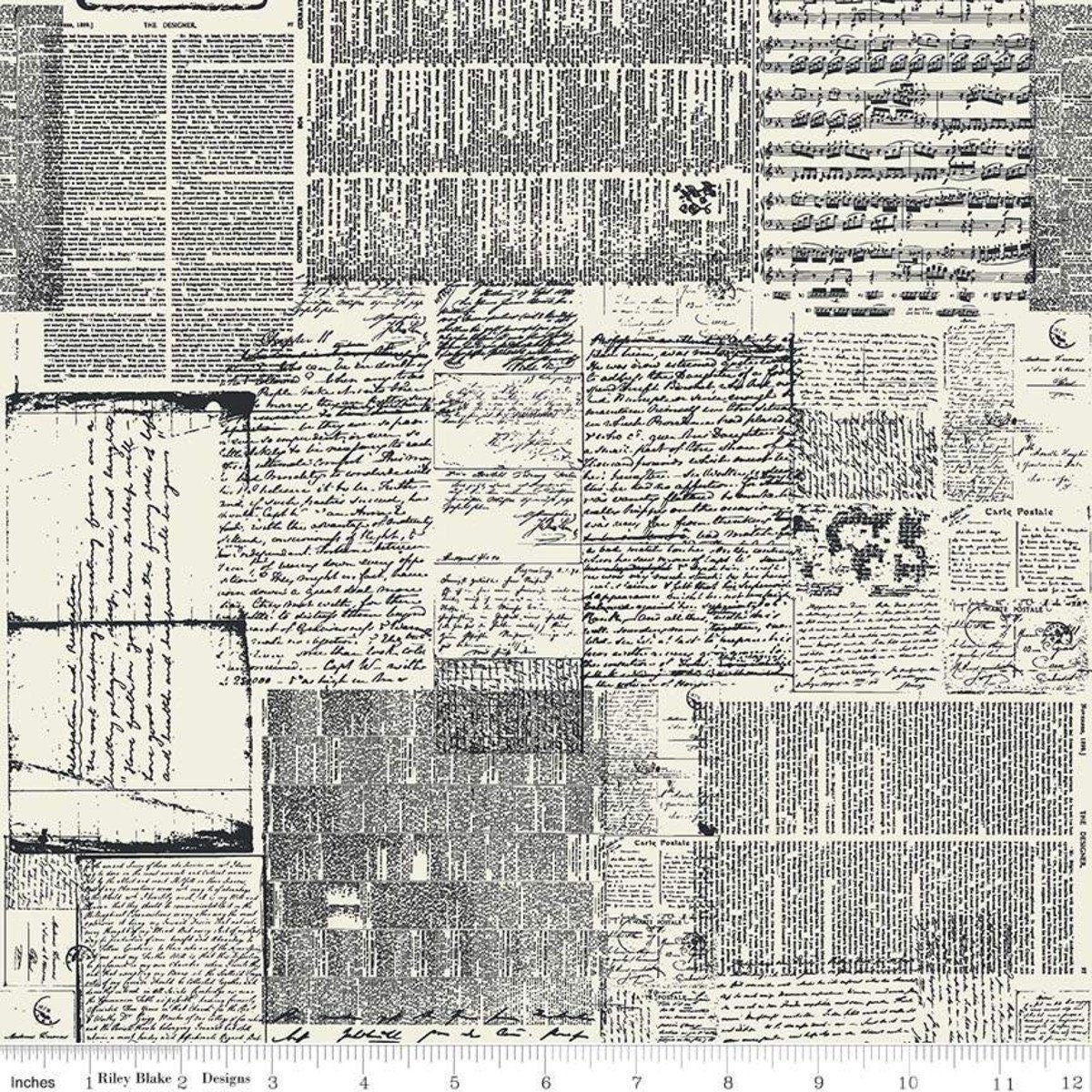 Newsprint Fabric - Text Fabric - Abbie - Sue Daley Designs with ... d81939bc71ea