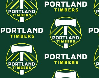 MLS Portland Timbers Fleece Soccer Team Fabric - Fabric Traditions 8722 Polyester FLEECE - Priced by the YARD - 60-Inch wide