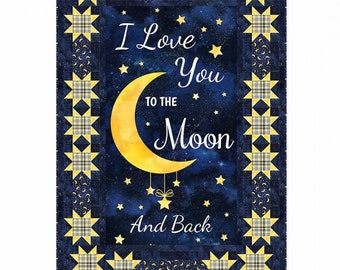 Stars Around Quilt Kit Featuring Love You to the Moon and Back - Timeless Treasures C8346 Navy - Priced by the Kit