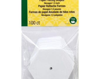 English Paper Piecing - 1.5 Inch Hexagon - Small Pack 100 count paper forms - Dritz 3231