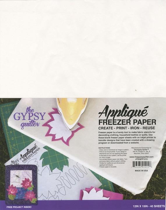 Quilteuses du congélateur, papier imprimable congélateur, Applique papier - Gypsy Quilting - 40 feuilles par paquet, 12 x 15 pouces - TGQFP1215H