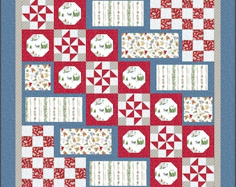 """Santa's Stocking Filler Quilt Kit Flannel - Christmas Joys by Kim Lammers - 56""""x70"""" Finished Size - DIY Project - Kit Fabric + Pattern"""