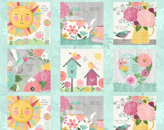 Keep Shining Bright - Birdhouse Floral Craft Panel - By Anne Rowan for Wilmington Prints - 3007 68507 739 - Priced by the Panel