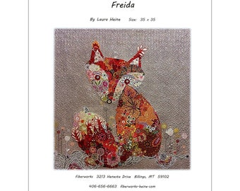 "Freida Fox -  Laura Heine pattern - Applique Quilt - 35""x35""  DIY Pattern Or Kit Option - full size reusable template pattern"