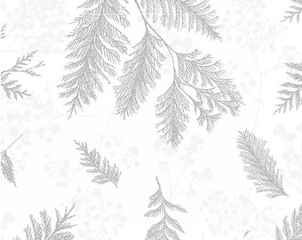 Winter Foliage Fabric - Sparkle & Fade Pine Boughs -  Hoffman Fabric  - 4565-3S White Silver - Priced by the Half Yard