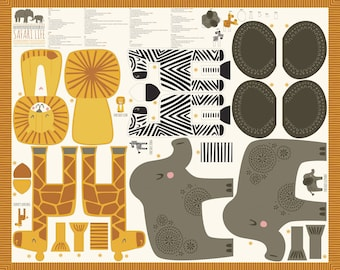 Safari Animal Panel Fabric - Elephant Giraffe Zebra Lion - Moda Fabric - Safari Fun 20640 11 - Sold by the Panel - DIY stuffed animals