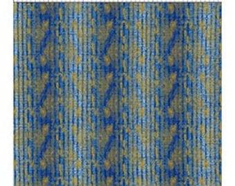 Floral Stripe Fabric - Metallic Stripe Fabric - Dreamscape - In The Beginning Jason Yenter 6JYD Blue - Priced by the 1/2 yard