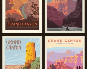 Grand Canyon National Parks Fabric Poster - Anderson Design Group for Riley Blake PP 8936 - 4-Patch Block 36-Inch Panel