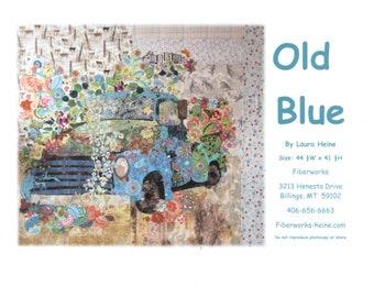 "Vintage Truck Collage - Laura Heine - Applique Quilt - Old Blue Pickup 44""x45"" - DIY Pattern Or Kit Option - full size reusable template"