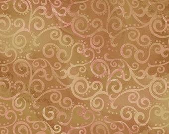 Ombre Scroll Quilting Treasures - 24174 AS Camel (Tan-Pink)  - Priced by the Half Yard