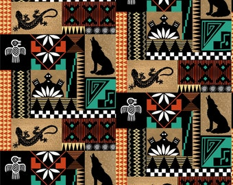 Pueblo Animals - Black Cutout - Southwest Fabric by Print Concepts  - 10359 Black -  Priced by the half yard