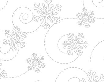 Kimberbell Basics WHITE on White Snowflake - Tone on Tone White  -Maywood Studio MAS 8240 WW - Priced by the half yard