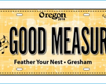 Row by Row Fabric License Plate  - Gresham Oregon Plate - Feather Your Nest