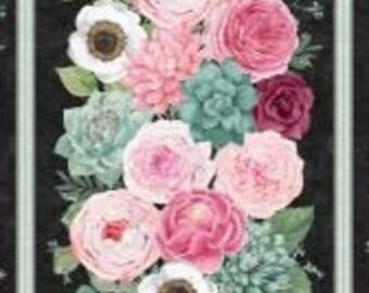 Botanical Oasis - Floral Bouquet Panel Plus Bundle with Coordinating Fabric - By Anne Rowan for Wilmington Prints - 68515 - Bundle Pack