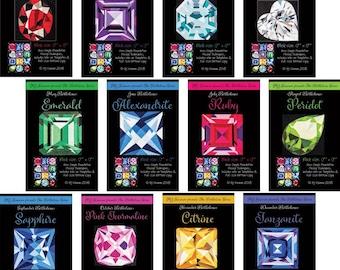 Birthstone Blocks - Gemstone Pattern - MJ Kinman - Paper Piecing block pattern - Calendar Stones - Freezer Paper Piecing